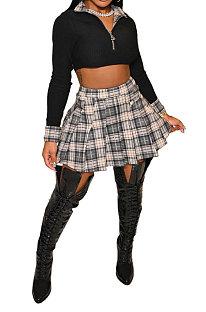 Women Fashion Club Ribber Tops Plaid Skirts Sets LBA5087