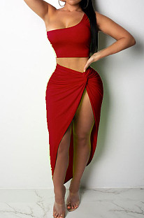 Red Euramerican Women Ruffle Solid Color One Shoulder High Split Skirts Sets MY9268-2