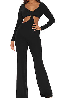 Black Club Ribber Long Sleeve V Neck Hollow Out Solid Color Slim Fitting Flare Jumpsuits YT3291-4