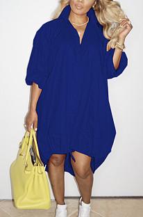 Blue Lapel Neck Long Sleeve Single-Breasted Loose Drawable Hem Shirt Dress WY6838-6