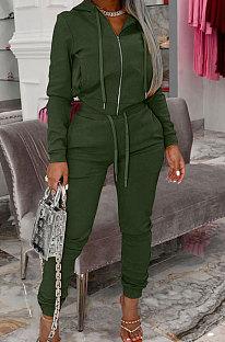 Green Autumn Winter Velvet Long Sleeve Zip Front Hoodie Pencil Pants Sport Sets YT3289-5
