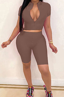 Coffee Simple Pure Color Short Sleeve Zip Fron Crop Top Shorts Casual Sets YSH6163-5