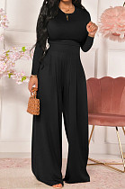 Black Women Trendy Joket Casual Pure Color Loose Pants Sets ED8522-1