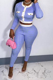 Blue Women Autumn Winter Long Sleeve Button Top Printing Tight Pants Sets NRS8080-3