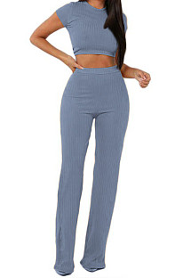 Light Blue Fashion Casual High Elastic Cotton Shor Sleeve Top Pure Color Ribber Loose Pants Sets MY9298-7