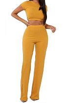 Yellow Fashion Casual High Elastic Cotton Shor Sleeve Top Pure Color Ribber Loose Pants Sets MY9298-1