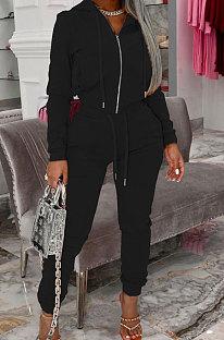 Black Autumn Winter Velvet Long Sleeve Zip Front Hoodie Pencil Pants Sport Sets YT3289-1