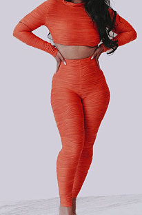 Orange Simple Long Sleeve Round Neck Crop Top Pencil Pants Ruffle Solid Color Sets YMT6236-1