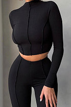 Black Women Autumn Mid High Collar Ribber Solid Color Bodycon High Waist Pants Sets Q959-4