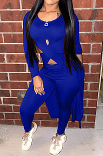 Blue Long Sleeve Round Neck Hollow Out Overlay Tops Pencil Pants Solid Color Sets YNS1609-3