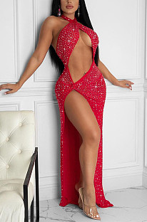 Red Sexy Night Club Hot Drilling Crystal Long Dress