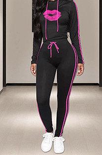 Pink Side Stripe Lips Print Long Sleeve Hoodie Sweat Pants Casual Sets YMT6233-2