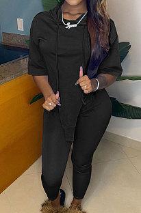Black Cute Irregularity Short Sleeve Hoodie Pencil Pants Sport Sets YC8050-2