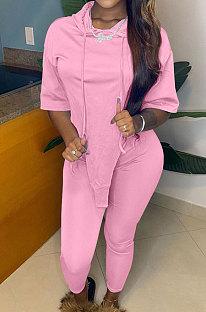 Pink Cute Irregularity Short Sleeve Hoodie Pencil Pants Sport Sets YC8050-3