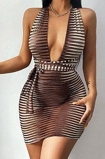 Khaki Euramerican Hip Sleeveless Tight Sexy Dew Chest Backless Bandage Mini Dress FLY21235-2