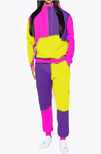 Yellow Newest Spliced Long Sleeve Hoodie Sweat Pants Two-Piece YMT6186-2