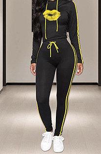 Yellow Side Stripe Lips Print Long Sleeve Hoodie Sweat Pants Casual Sets YMT6233-3