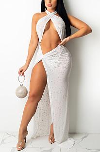 White Sexy Night Club Hot Drilling Crystal Long Dress K6013-3