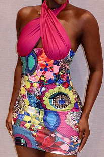 Red Women Printing Spliced Backless Solid Color Cross Hallter Neck Hip Mini Dress HLR17939