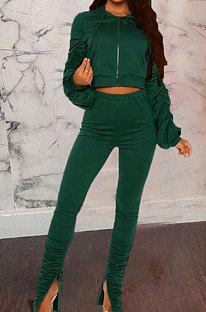 Green Wholesale Velvet Ruffle Sleeve Zip Front Hooded Coat Slit Pants Sport Sets YMT6234-1