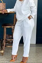 Solid Color Round Neck Thick Fabric Pants Set BBN202