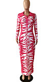Rose Red  Big Yards Digital Print Long Sleeve Lapel Neck Button Front Slim Fitting Maxi Dress YNS1675