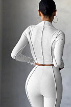 White Women Autumn Mid High Collar Ribber Solid Color Bodycon High Waist Pants Sets Q959-1