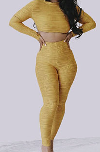 Yellow Simple Long Sleeve Round Neck Crop Top Pencil Pants Ruffle Solid Color Sets YMT6236-3