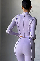 Purple Women Autumn Mid High Collar Ribber Solid Color Bodycon High Waist Pants Sets Q959-6
