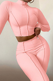 Pink Women Autumn Mid High Collar Ribber Solid Color Bodycon High Waist Pants Sets Q959-2