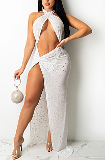 White Sexy Night Club Hot Drilling Crystal Mesh See Through Long Dress XZ5326-2