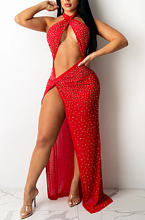 Red Sexy Night Club Hot Drilling Crystal Mesh See Through Long Dress XZ5326-3