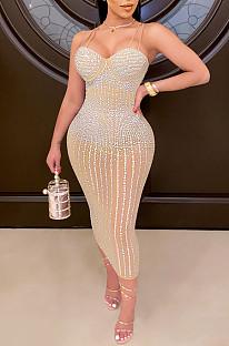 Apricot Spaghetti Strap See Throgh Mesh Hot Drilling Club Dress XZ3805-4