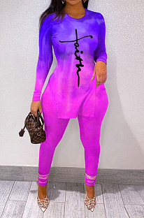 Purple Wholesale Print Long Sleeve Round Neck Top Bodycon Pants Sets YNS1677-2
