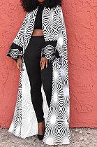 White Women Fashion Joket Long Cardigan Loose Printing Jacket NO Waistband DY6943-1