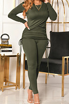 Army Green Women Long Sleeve Tight Solid Color Drawsting Casual Round Collar Pants Sets FMM2079-4