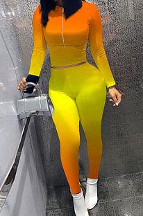Orange Yellow Wholesale New Gradient Long Sleeve Zip Front Top Bodycon Pants Slim Fitting Sets XMC6070-2