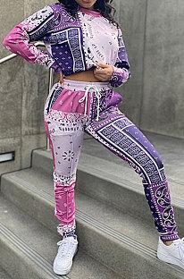 Purple Women Autumn Winter Fashion Casual Sport Round Collar Paisley Pants Sets GLS10030-1