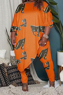 Orange Euramerican Fashion Women Loose Oblique Shoulder Plus Pants Sets AYM5033-2