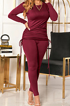 Wine Red Women Long Sleeve Tight Solid Color Drawsting Casual Round Collar Pants Sets FMM2079-6