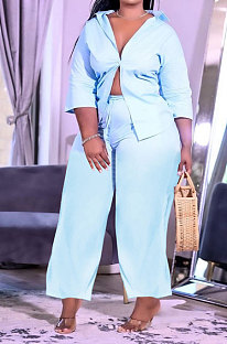 Light Blue Women Euramerican Trendy Pure Color Sexy Cardigan Single-Breasted With Pocket Plus Pants Sets AYM5032-2