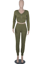 Army Green Womwn Autumn Long Sleeve V Collar Zipper Pure Color Sexy Bodycon Pants Sets FMM2051-4