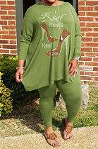 Green Big Yards Hot Drilling Print Loose Long Sleeve T-Shirts Pencil Pants Fat Woman Sets WA77278-5