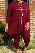 Wine Red Big Yards Hot Drilling Print Loose Long Sleeve T-Shirts Pencil Pants Fat Woman Sets WA77275-5