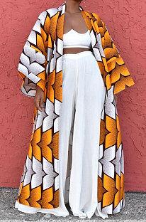 Yellow Women Fashion Joket Long Cardigan Loose Printing Jacket NO Waistband DY6943-2