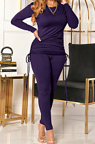 Dark Purple Women Long Sleeve Tight Solid Color Drawsting Casual Round Collar Pants Sets FMM2079-5