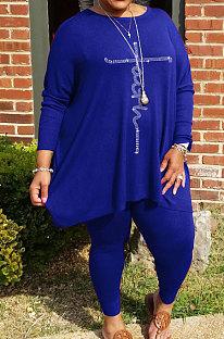 Blue Big Yards Hot Drilling Print Loose Long Sleeve T-Shirts Pencil Pants Fat Woman Sets WA77275-1