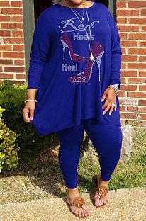 Blue Big Yards Hot Drilling Print Loose Long Sleeve T-Shirts Pencil Pants Fat Woman Sets WA77278-3