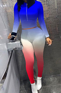 Blue Red Wholesale New Gradient Long Sleeve Zip Front Top Bodycon Pants Slim Fitting Sets XMC6070-4