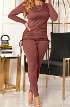 Khaki Women Long Sleeve Tight Solid Color Drawsting Casual Round Collar Pants Sets FMM2079-3